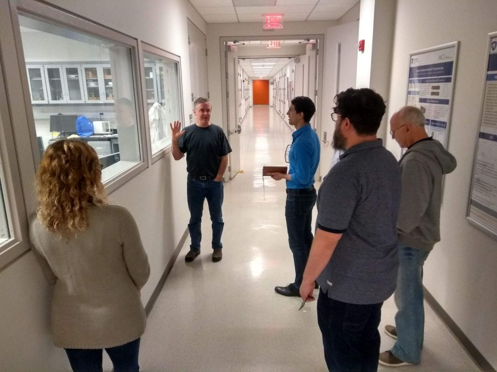 Jeff Shallenberger leads a tour through the underground Materials Characterization Lab.