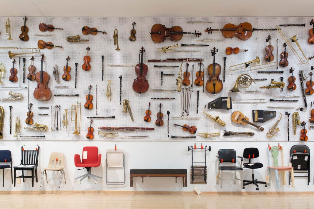 Instruments hung on a wall