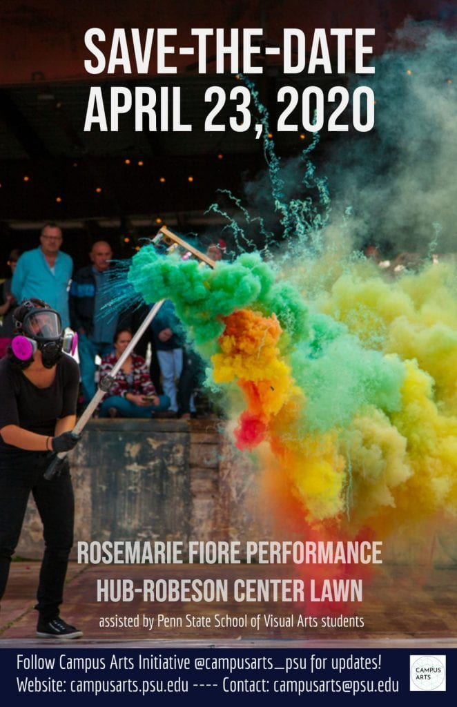 Save the Date for Rosemarie Fiore's performance April 23 on HUB-Robeson Lawn