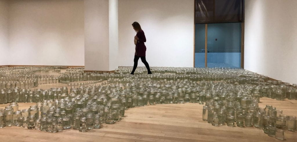 installation of glass jars with water